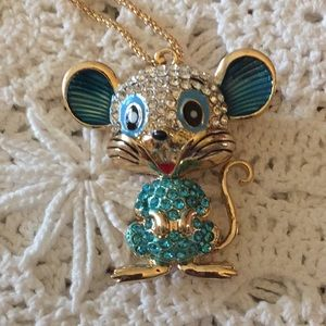 Rhinestone Glittery Mouse Necklace